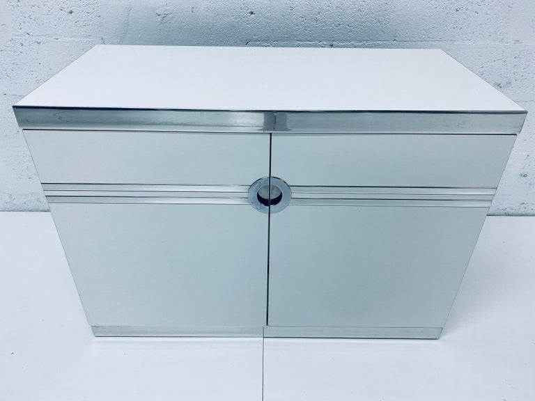 Pair of Pierre Cardin White and Chrome Nightstands or Dressers for Dillingham For Sale 6