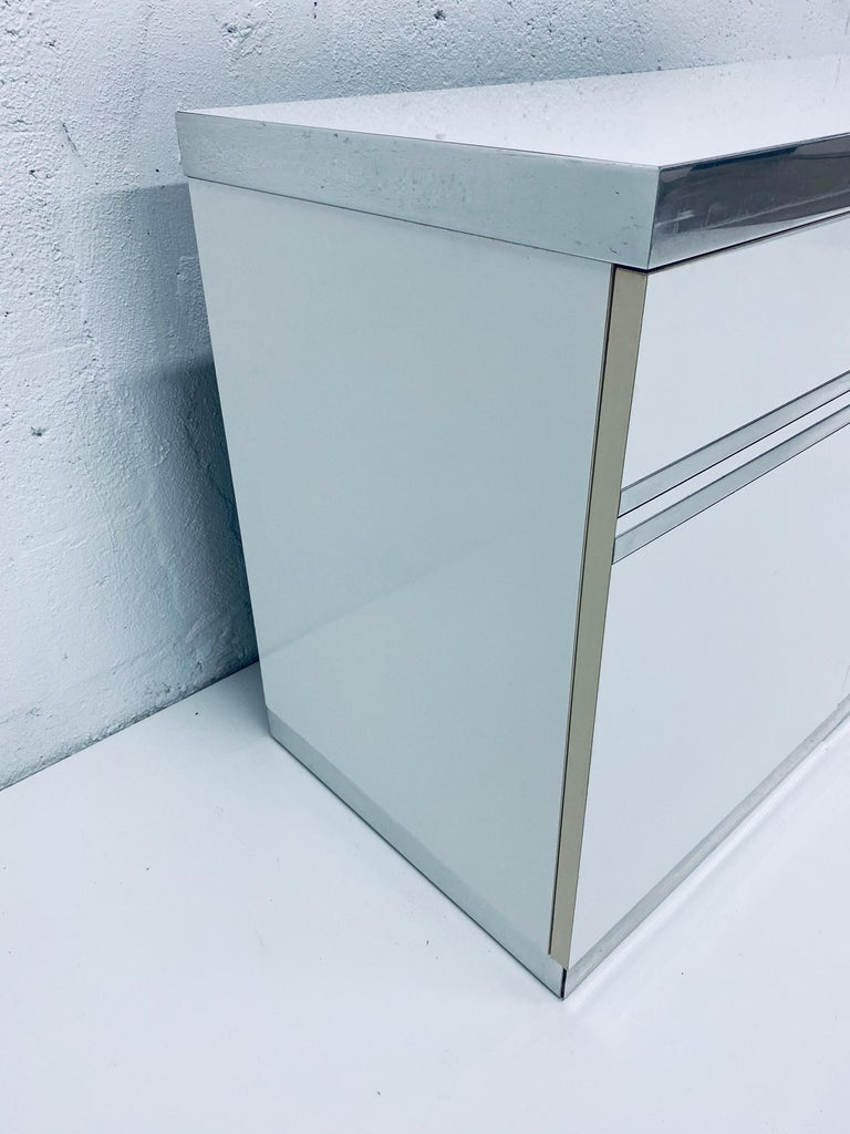 Pair of Pierre Cardin White and Chrome Nightstands or Dressers for Dillingham For Sale 7