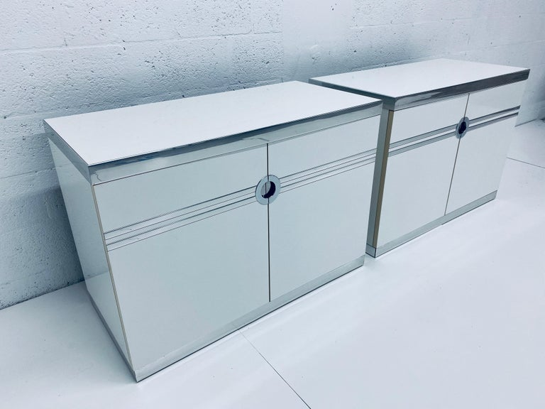 Mid-Century Modern Pair of Pierre Cardin White and Chrome Nightstands or Dressers for Dillingham For Sale