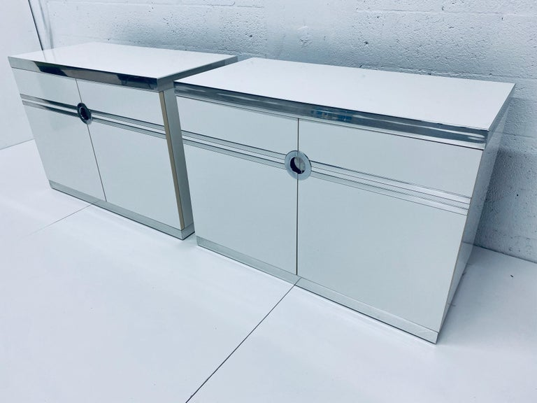 French Pair of Pierre Cardin White and Chrome Nightstands or Dressers for Dillingham For Sale