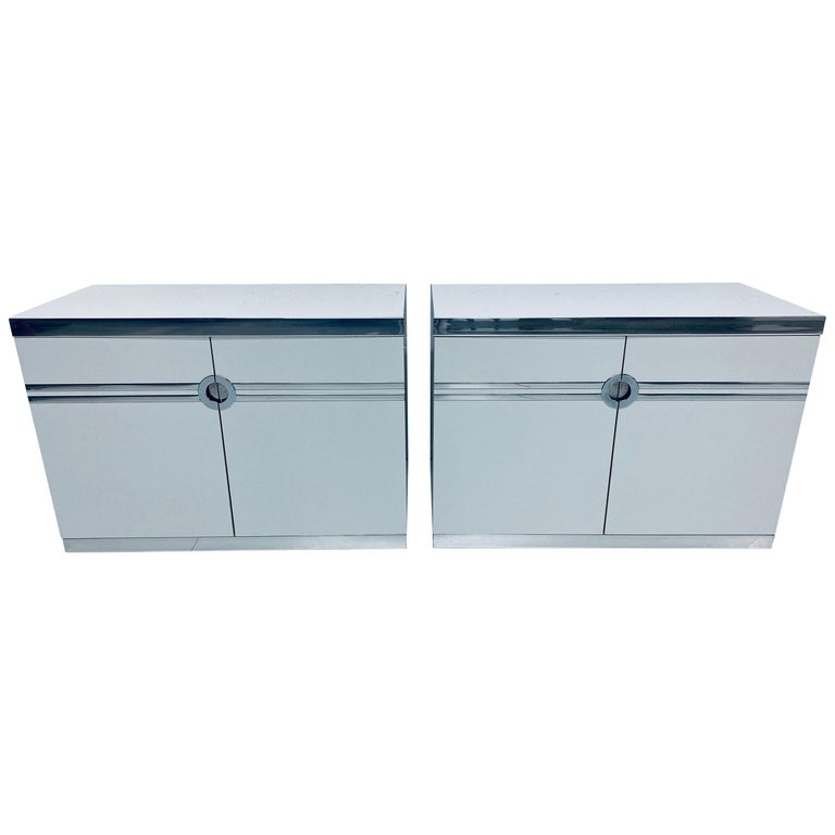 Pair of Pierre Cardin White and Chrome Nightstands or Dressers for Dillingham For Sale