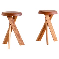 Pair of Pierre Chapo S31 Stools in Solid Elm, Chapo Creation, France
