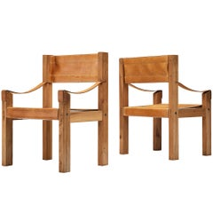 Pair of Pierre Chapo S371 Chairs in Cognac Leather