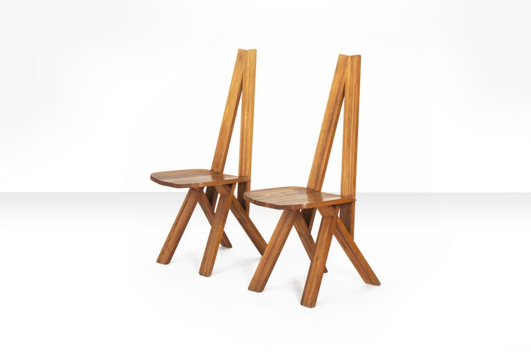 French Pair of Pierre Chapo S45 Chairs in Solid Elm, France 1970s For Sale