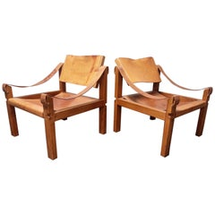 Pair of Pierre Chapo Sahara S10 Easy Chairs in Cognac Leather and Oak, France