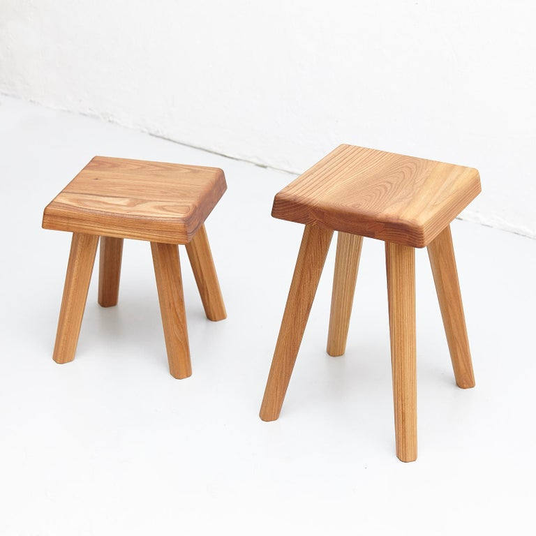 Stool designed by Pierre Chapo,   Manufactured by Chapo Creations in France, 2019.  Solid elmwood.  In good original condition, with minor wear consistent with age and use, preserving a beautiful patina.  Pierre Chapo is born in a family of