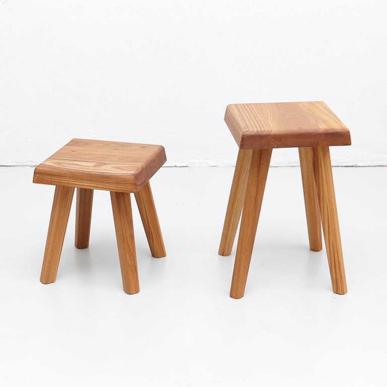 French Pair of Pierre Chapo Solid Elm Stools