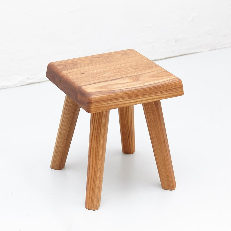 Pair of Pierre Chapo Solid Elm Stools In Good Condition In Barcelona, Barcelona