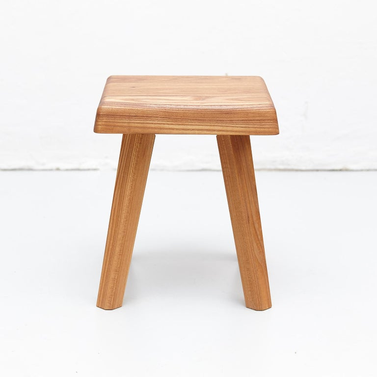Wood Pair of Pierre Chapo Solid Elm Stools