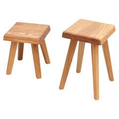 Pair of Pierre Chapo Solid Elm Stools