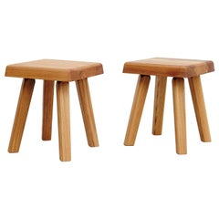 Pair of Pierre Chapo Solid Elmwood Stool