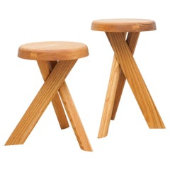 Pair of Pierre Chapo Solid Elmwood Stools S31A & S31B