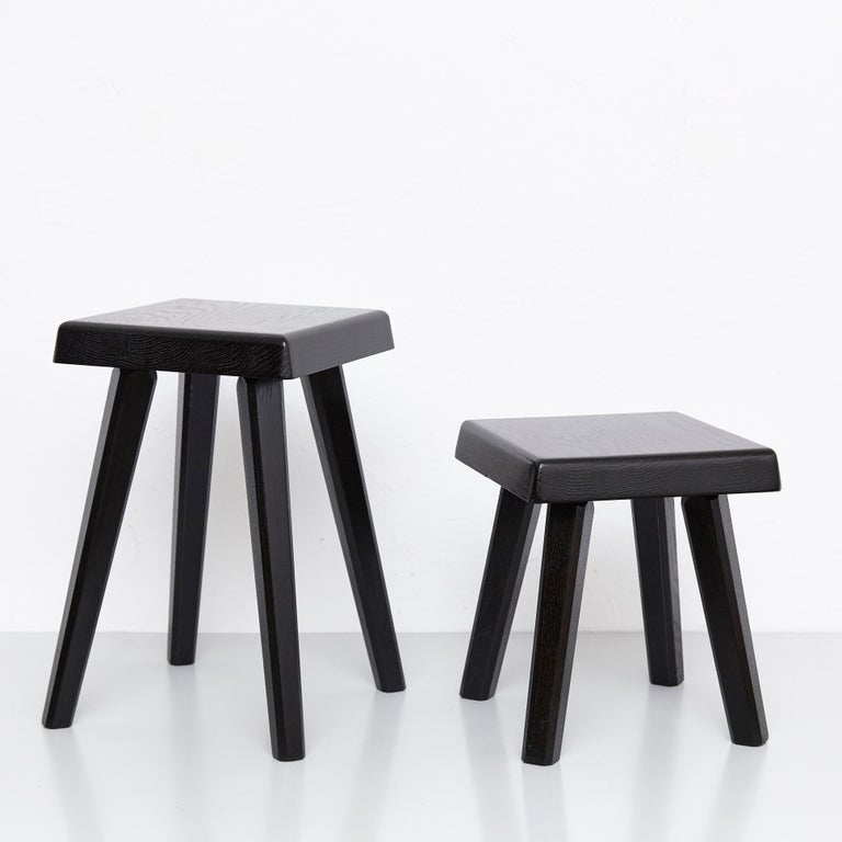 Pair of Pierre Chapo Special Black Edition Stools 3