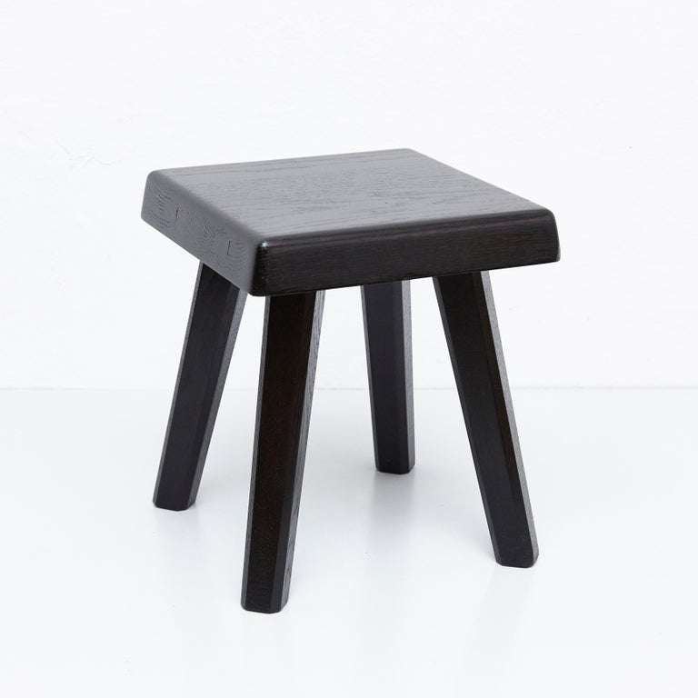 Pair of Pierre Chapo Special Black Edition Stools 5