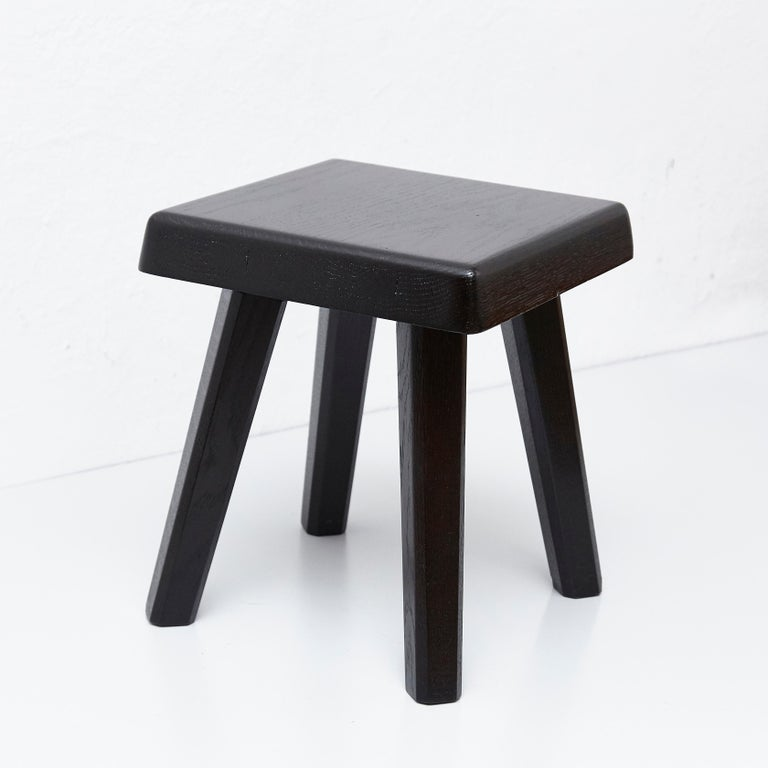 Pair of Pierre Chapo Special Black Edition Stools 6