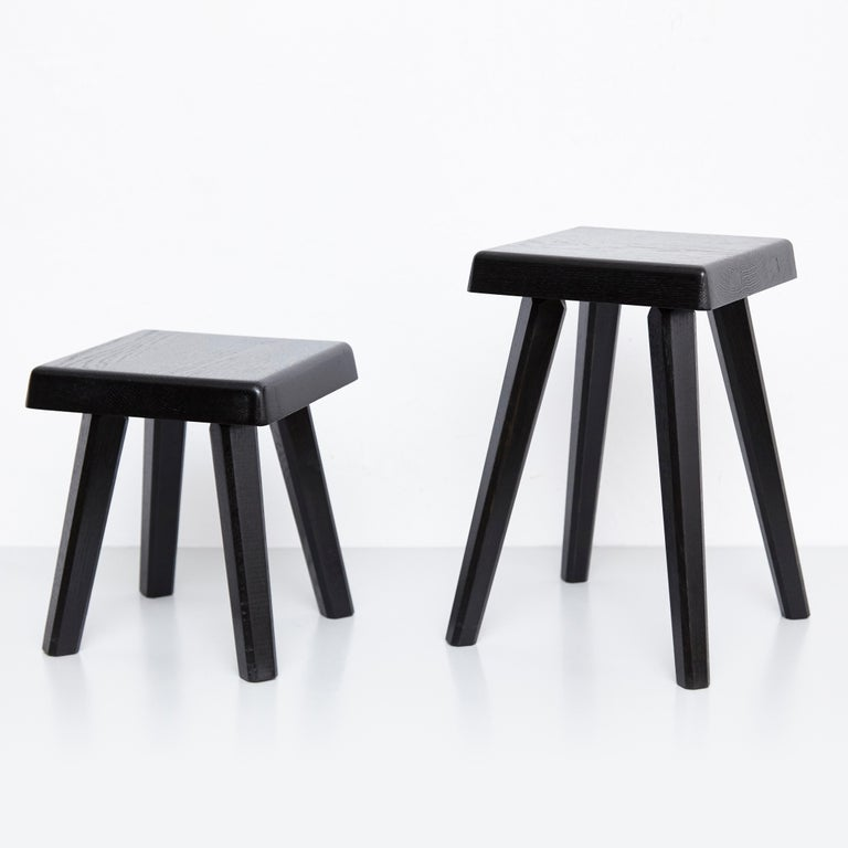 Pair of Pierre Chapo Special Black Edition Stools 7