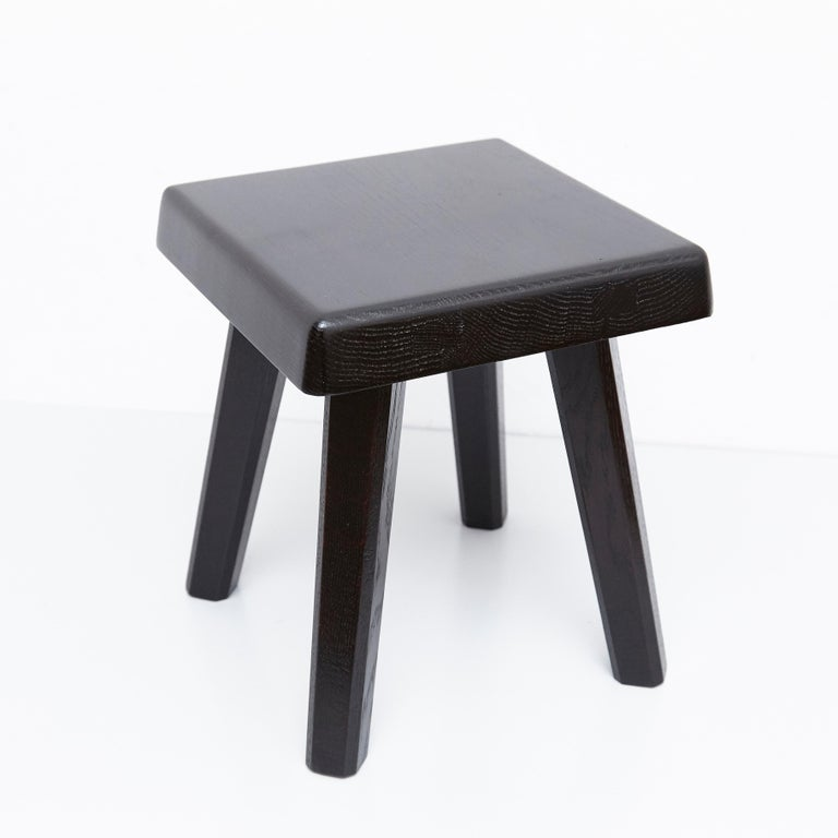 Pair of Pierre Chapo Special Black Edition Stools 8