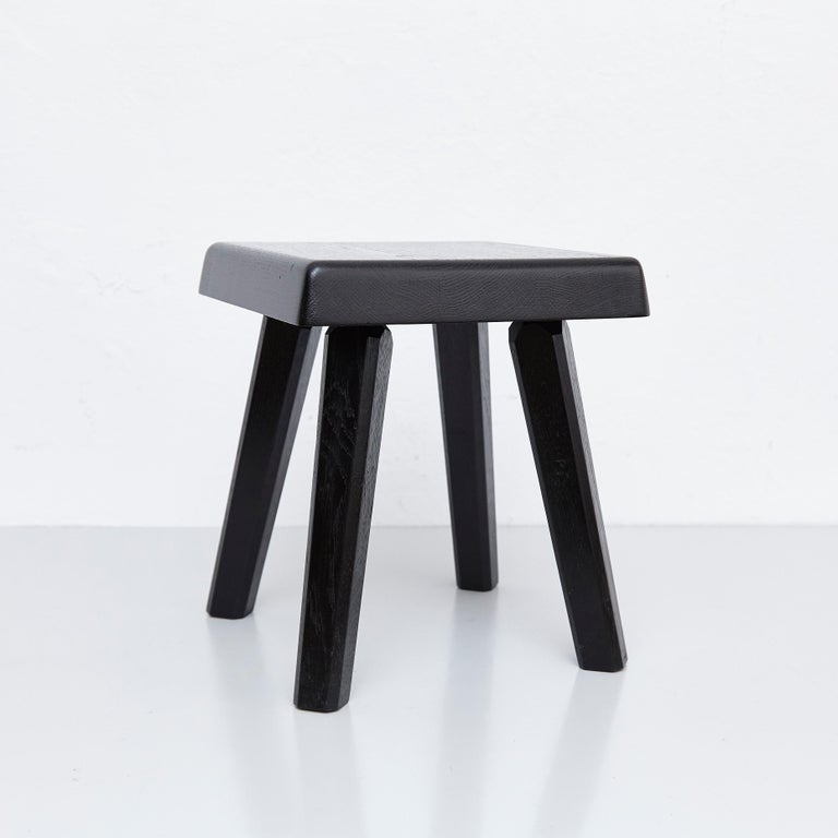 Pair of Pierre Chapo Special Black Edition Stools 9