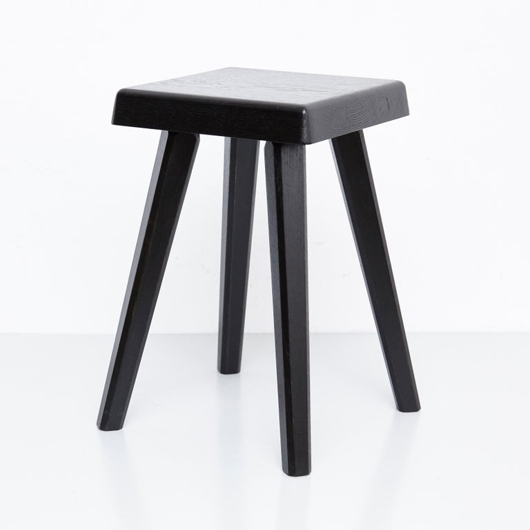 Special Black Edition stools designed by Pierre Chapo, manufactured in France, 1960s. Manufactured by Chapo creations in 2019  Solid oakwood.  Stamped  Small : 29 x 29 x 33 cm Tall : 29 x 29 x 45 cm  In good original condition, with minor wear