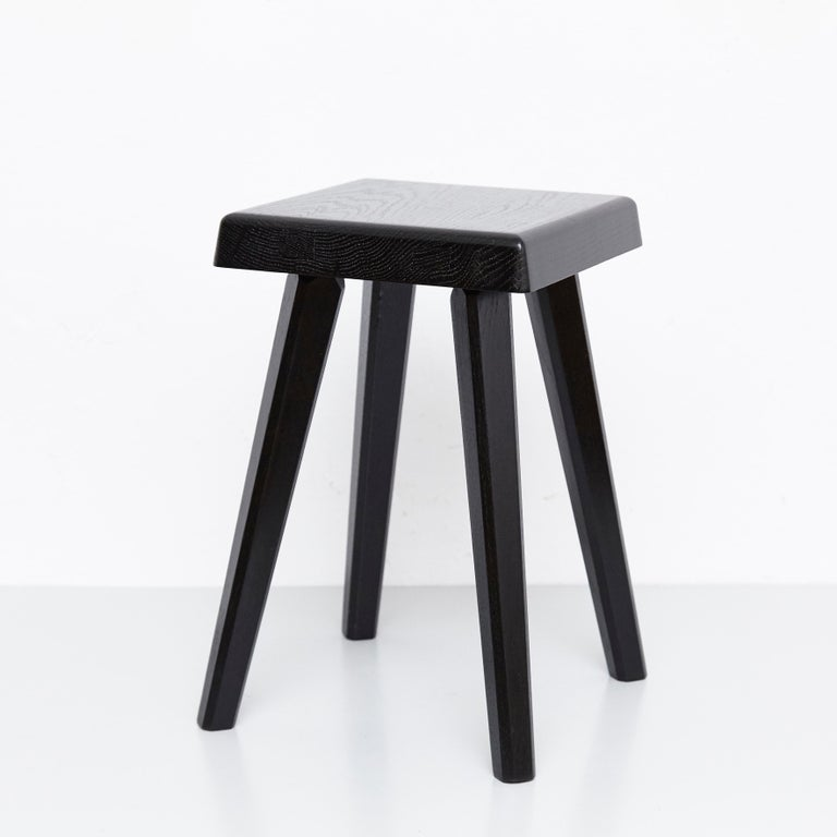 Special black edition stools designed by Pierre Chapo, manufactured in France, 1960s.