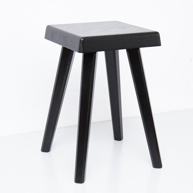 Mid-Century Modern Pair of Pierre Chapo Special Black Edition Stools
