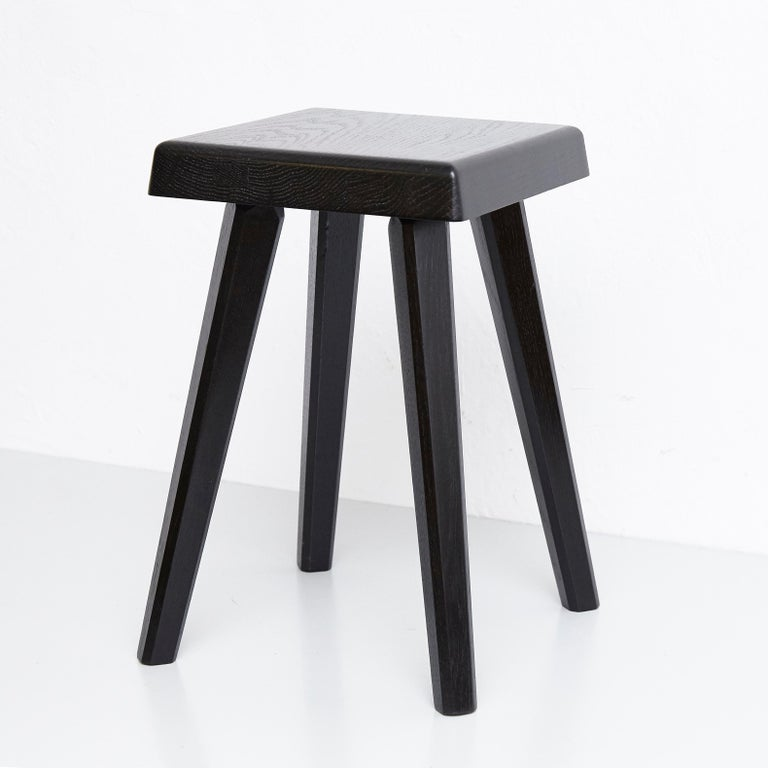 French Pair of Pierre Chapo Special Black Edition Stools
