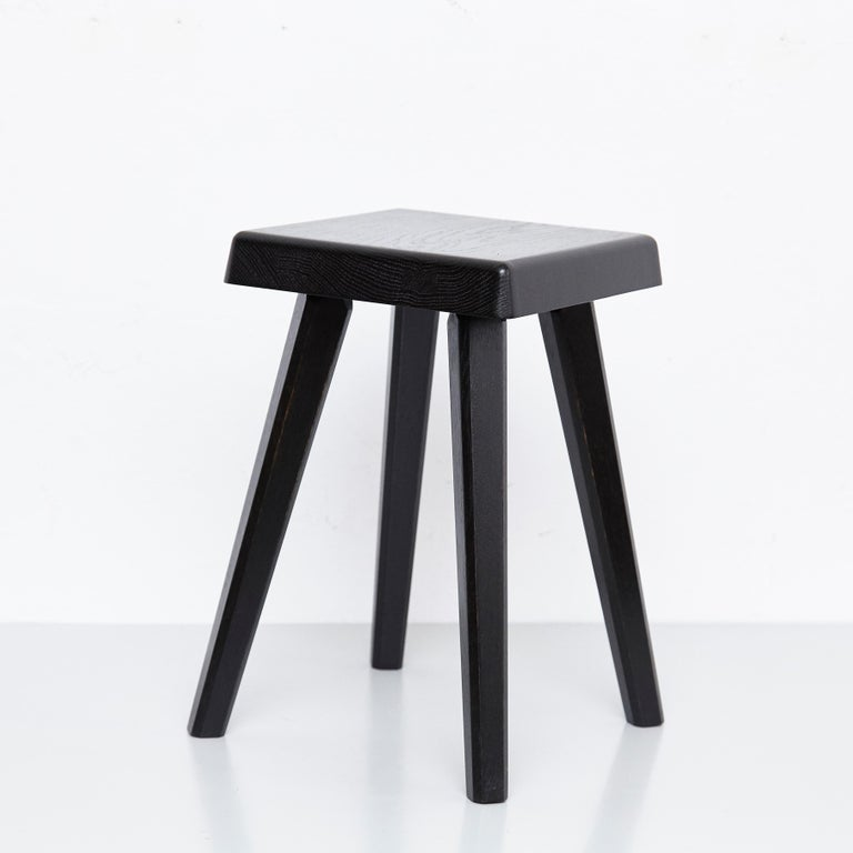 Contemporary Pair of Pierre Chapo Special Black Edition Stools