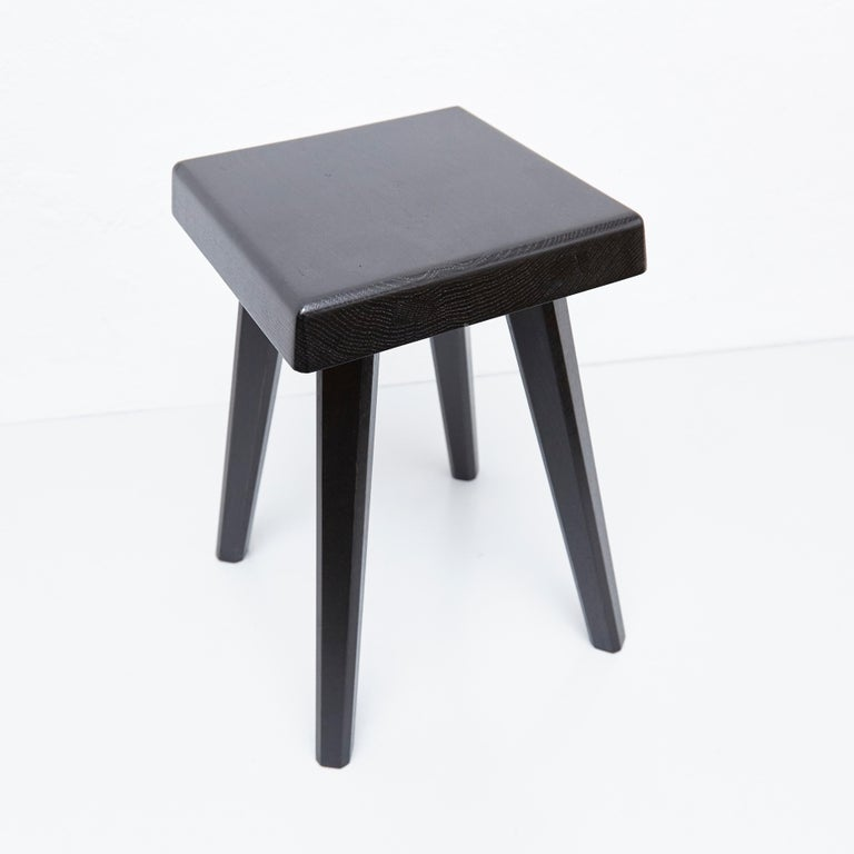 Pair of Pierre Chapo Special Black Edition Stools 1