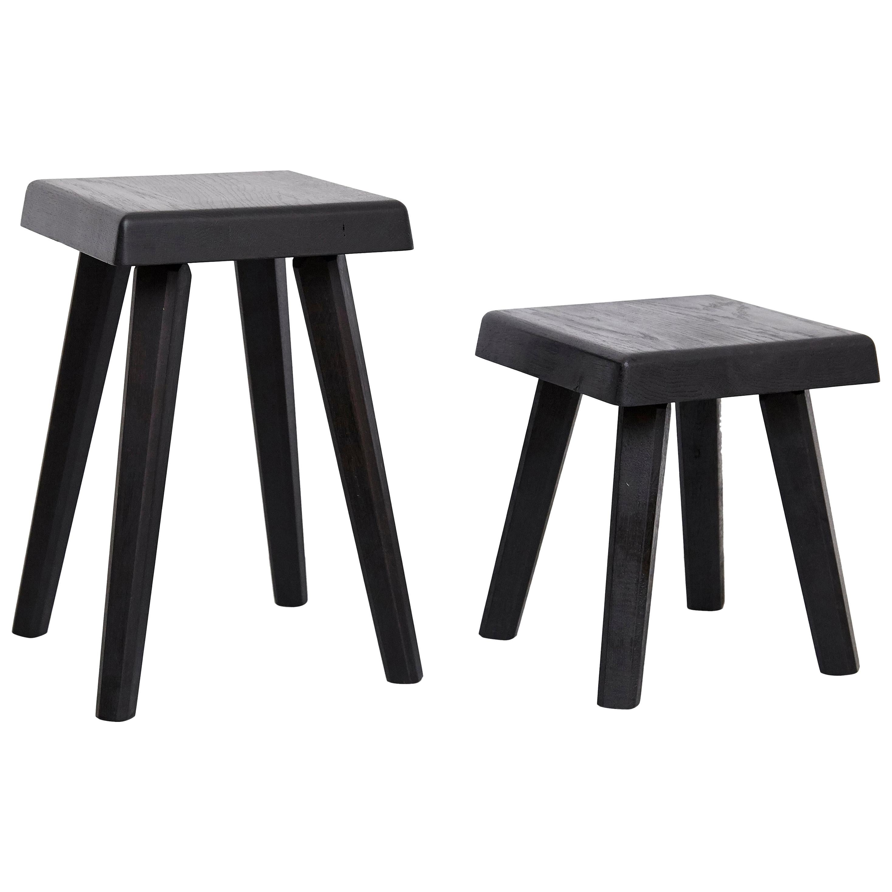 Pair of Pierre Chapo Special Black Wood Edition Stool