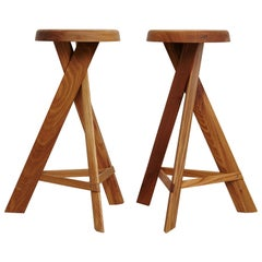 Pair of Pierre Chapo Stool S31C Elm Wood