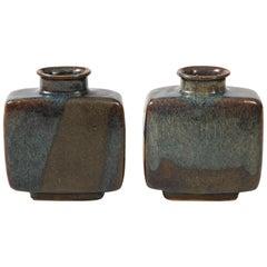 Pair of Pierre Culot Earthenware Ceramic Vases, Belgium, circa 1975, Signed