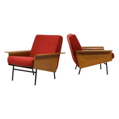 Pair of Pierre Guariche G10 Armchairs for Airborne, France, 1950