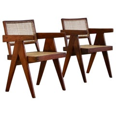 Pair of Pierre Jeanneret Cane Chair for Chandigarh, 1950s