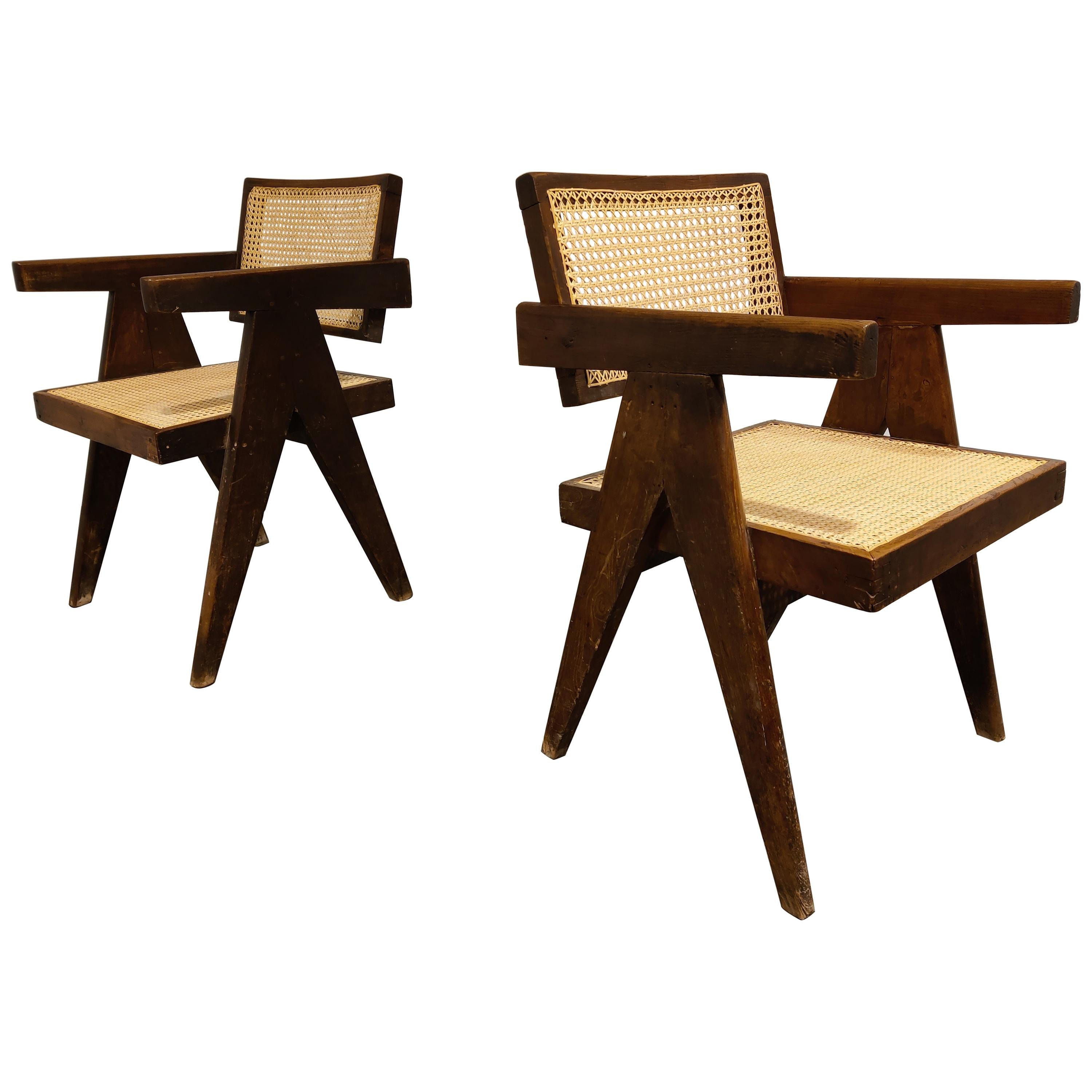 Pair of Pierre Jeanneret Chandigarh Office Cane Chairs, 1950s