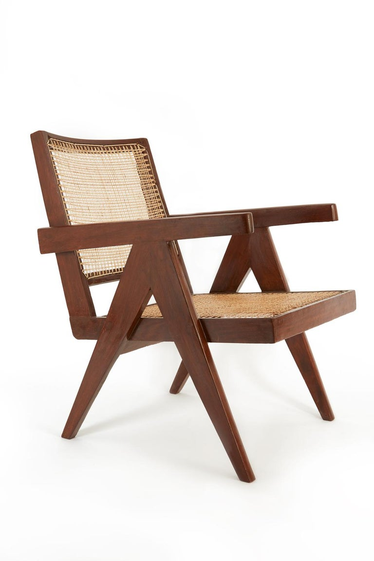 Pair of Pierre Jeanneret Easy Chairs In Good Condition For Sale In Soho, London, GB