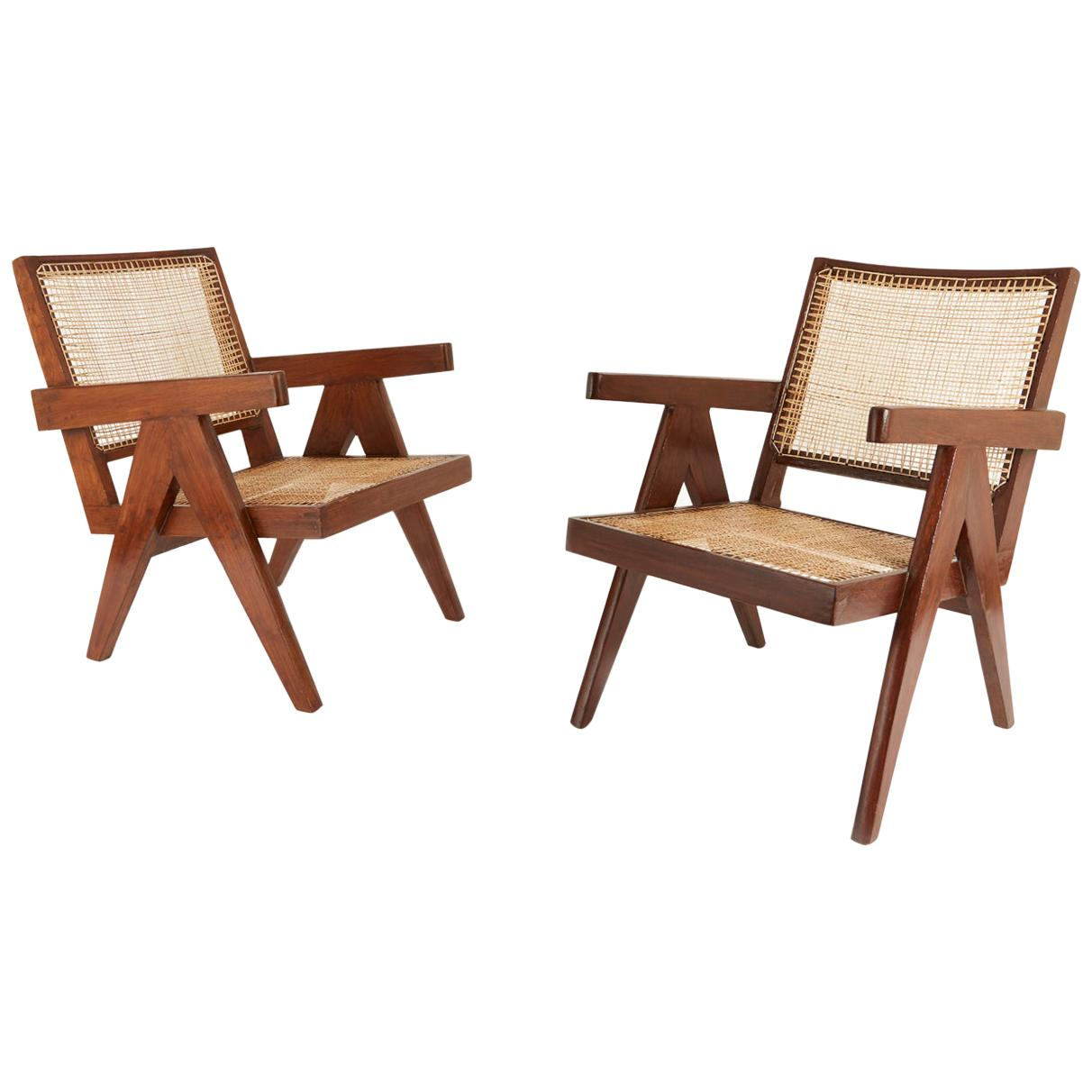 Pair of Pierre Jeanneret Easy Chairs with Rare Stencil Marks
