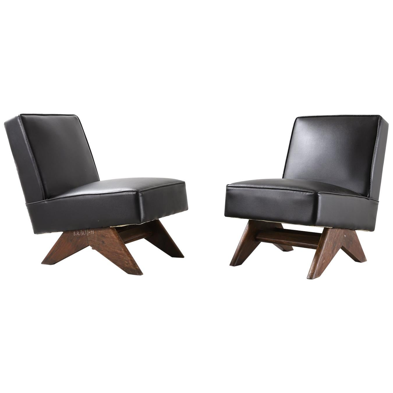 """Pair of Pierre Jeanneret """"Fireside"""" Chair, circa 1955-1956"""