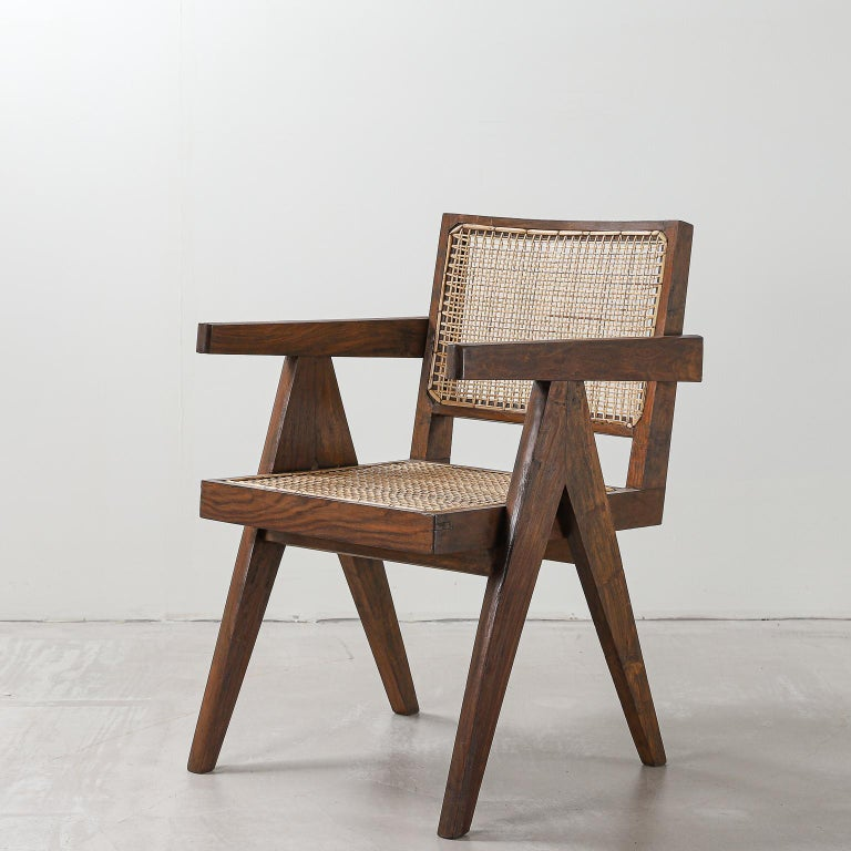Pair of Pierre Jeanneret Office Chair, Variant, circa 1953-1954 In Good Condition For Sale In London, Greater London
