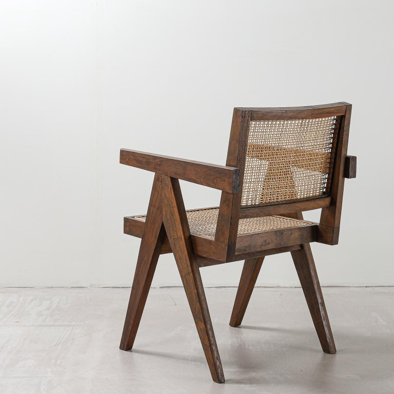 Rattan Pair of Pierre Jeanneret Office Chair, Variant, circa 1953-1954 For Sale