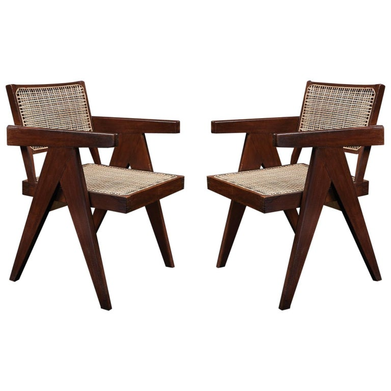 Pair of Pierre Jeanneret Office Chairs  For Sale
