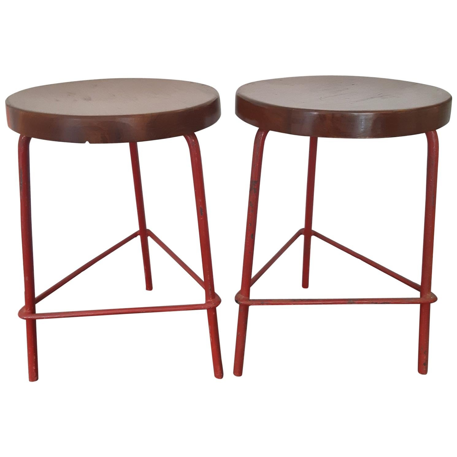 Pair of Pierre Jeanneret Stools, 1960s, Chandigarh