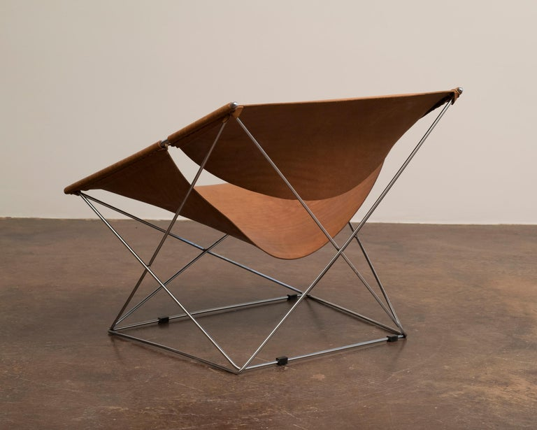 Mid-20th Century Pair of Pierre Paulin Butterfly Chairs in Original Leather, France, 1963 For Sale