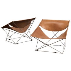 Pair of Pierre Paulin Butterfly Chairs in Original Leather, France, 1963