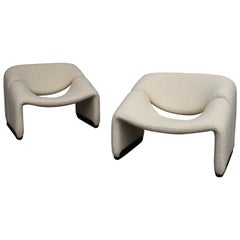 Pair of Pierre Paulin F598 Groovy Lounge Chairs for Artifort, Netherlands, 1972