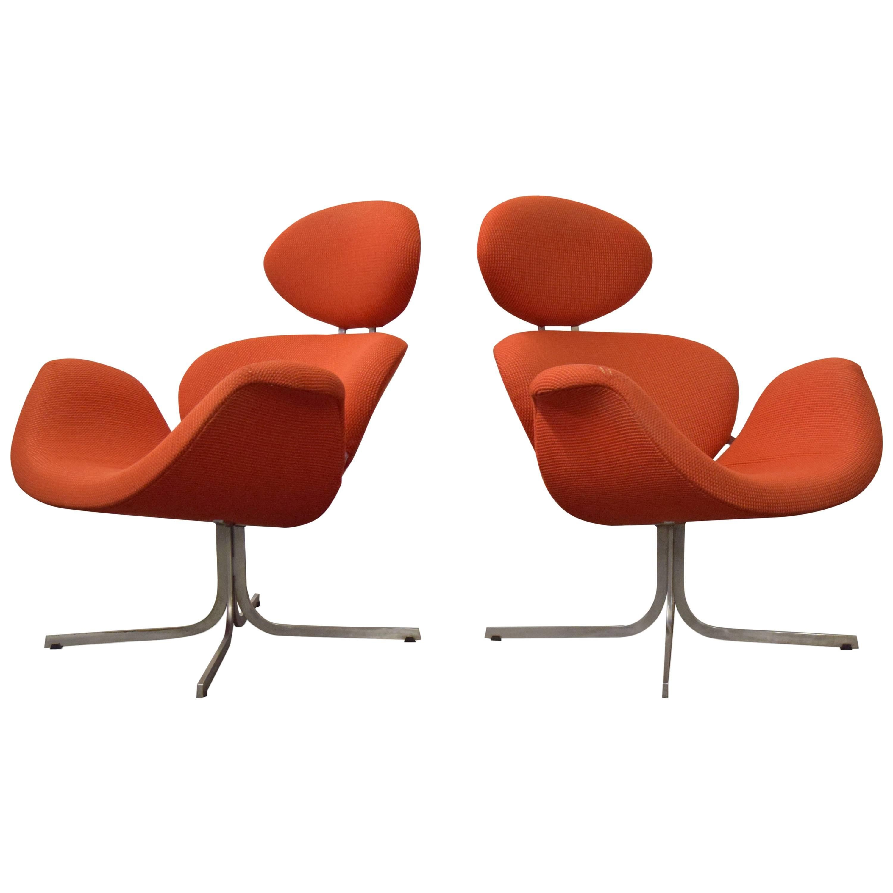 """Pair of Pierre Paulin First Edition """"Big Tulip"""" for Artifort Lounge Chairs"""