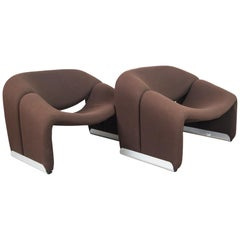 Pair of Pierre Paulin for Artifort Brown Wool Groovy Chairs