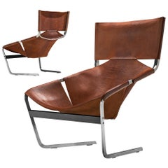 Pair of Pierre Paulin's F-444 Easy Chair in Patinated Cognac Leather
