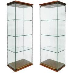 Pair of Pierre Vandel Vitrines French Midcentury Illuminated Showcase Cabinets