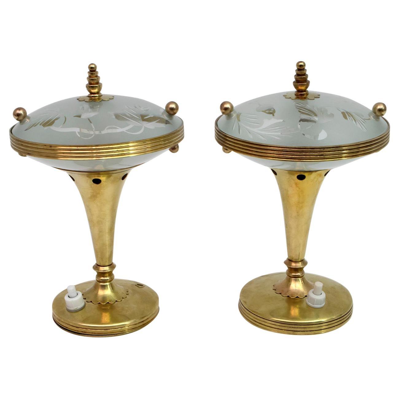 Pair of Pietro Chiesa Midcentury Italian Brass Table Lamps by Fontana Arte 1940s