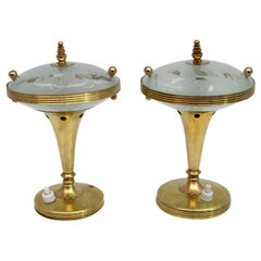 Pair of Pietro Chiesa Midcentury Italian Brass Table Lamps by Fontana Arte 1940s
